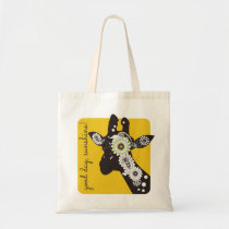 Funky Cool Giraffe Animal Quote Funny Yellow Tote Bag
