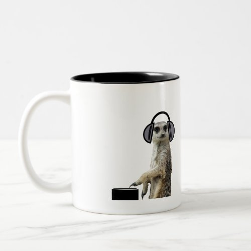 Funky cool meerkat dj Two-Tone coffee mug