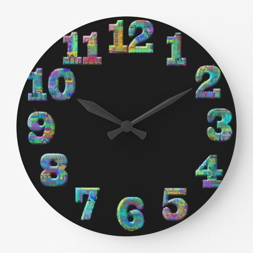 Funky cool number words clock : Zazzle