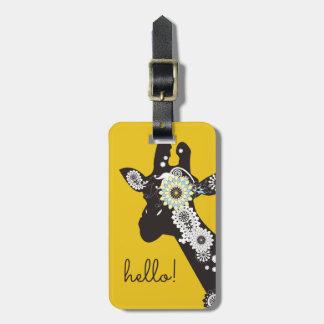 Funky Cool Paisley Giraffe Funny Animal Yellow Bag Tag