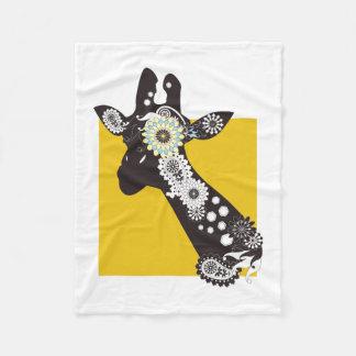 Funky Cool Paisley Giraffe White & Yellow Funny Fleece Blanket