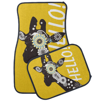 Funky Cool Paisley Giraffe Yellow Funny Car Mat