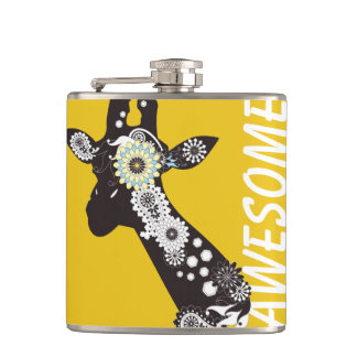Funky Cool Paisley Giraffe Yellow Funny Hip Flask