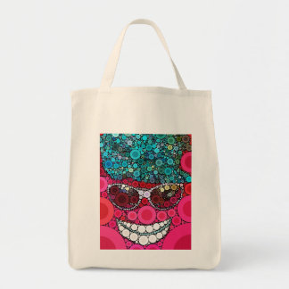 Funky Cool Smiling Face Sunglasses Hat Pink Blue Canvas Bags