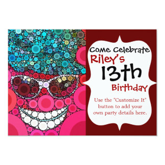 Funky Cool Smiling Face Sunglasses Hat Pink Blue Card
