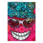Funky Cool Smiling Face Sunglasses Hat Pink Blue Cards