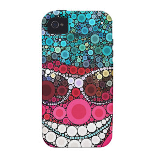 Funky Cool Smiling Face Sunglasses Hat Pink Blue Case-Mate iPhone 4 Case