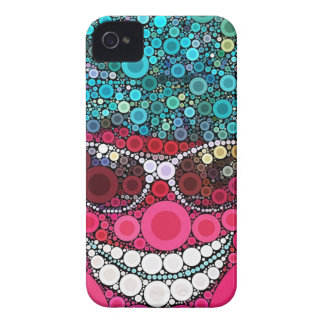 Funky Cool Smiling Face Sunglasses Hat Pink Blue iPhone 4 Cases