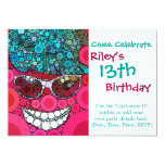 Funky Cool Smiling Face Sunglasses Hat Pink Blue Custom Invite