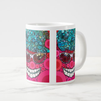 Funky Cool Smiling Face Sunglasses Hat Pink Blue Large Coffee Mug