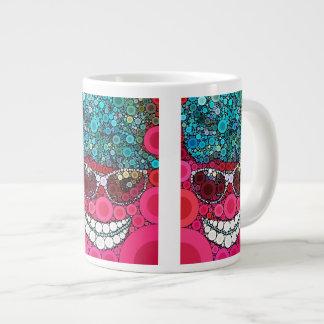 Funky Cool Smiling Face Sunglasses Hat Pink Blue 20 Oz Large Ceramic Coffee Mug