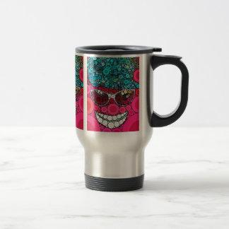 Funky Cool Smiling Face Sunglasses Hat Pink Blue Travel Mug