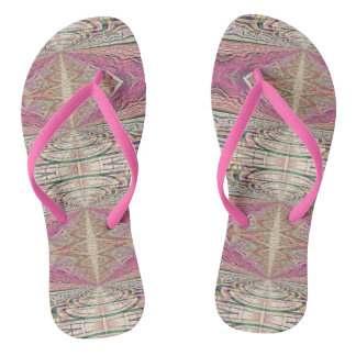 Funky Cool Tan Pink Feminine Tribal Pattern Most Flip Flops