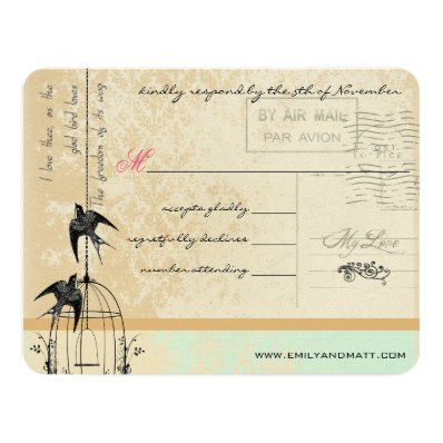 Funky Coral Damask Bird Cage Wedding RSVP 4.25x5.5 Paper Invitation Card