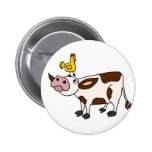 Funky Cow with Chicken on Her Head Cartoon Pinback Buttons