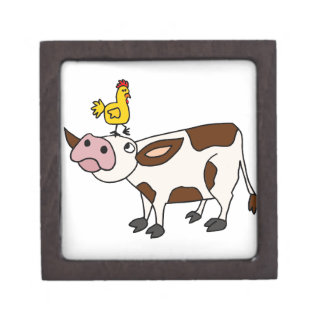 Funky Cow with Chicken on Her Head Cartoon Jewelry Box