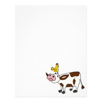 Funky Cow with Chicken on Her Head Cartoon Letterhead
