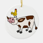 Funky Cow with Chicken on Her Head Cartoon Ornament