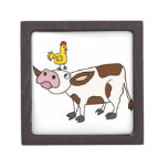 Funky Cow with Chicken on Her Head Cartoon Premium Keepsake Boxes