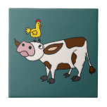 Funky Cow with Chicken on Her Head Cartoon Ceramic Tiles