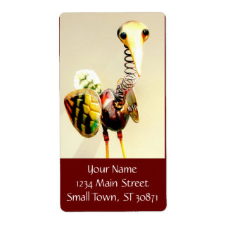 Funky Crane Bird Metal Garden Ornament Folk Art Shipping Label