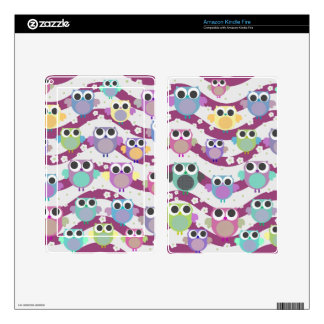 funky cute colorful owls & blossoms kindle skin