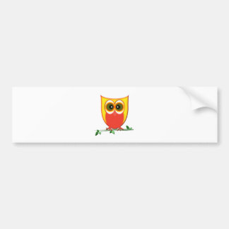 Funky Cute Owl Car Bumper Sticker