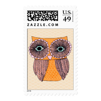 Funky Cute Owl Illustrated Postage Stamp