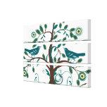 Funky Cute Teal  Vintage Love Birds Swirly Tree Canvas Print