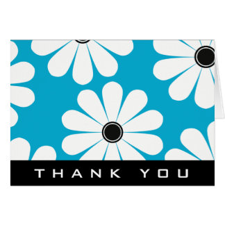 Funky Daisies (Blue) Thank You Card