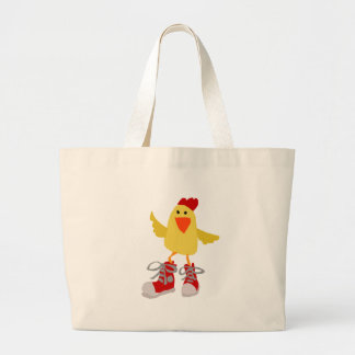 Funky Dancing Yellow Chicken Large Tote Bag