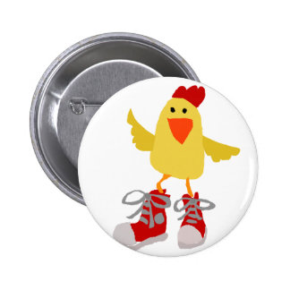 Funky Dancing Yellow Chicken Pinback Button