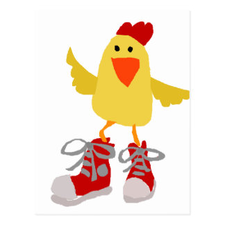 Funky Dancing Yellow Chicken Postcard