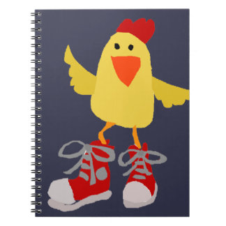 Funky Dancing Yellow Chicken Spiral Notebook
