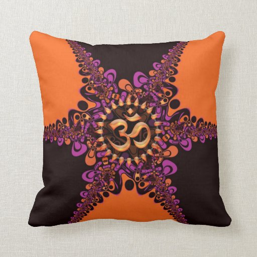Funky Dark Chocolate Pink Orange OM Sign Cushion