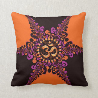 Funky Dark Chocolate Pink Orange OM Sign Cushion Pillows