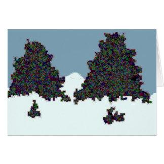Funky dark tree doodle card