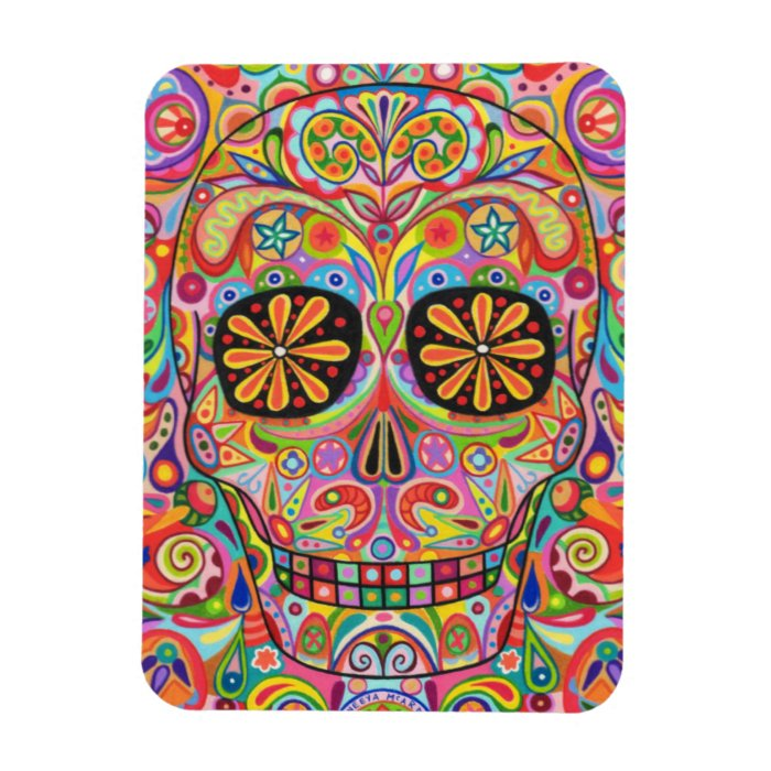 Funky Day of the Dead Art Premium Magnet