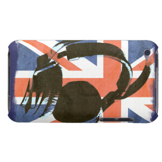 funky deejay earphones on retro british Union Jack Barely There iPod Covers