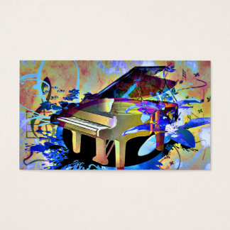 Funky Digitally Colored Piano Business Card