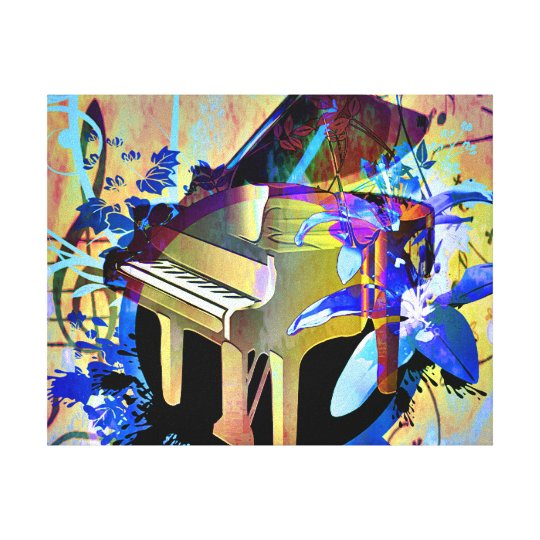 Funky Digitally Colored Piano Canvas Print