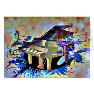 Funky Digitally Colored Piano Greeting Card