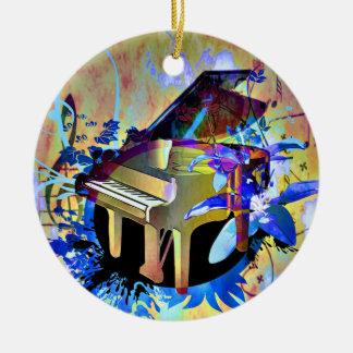 Funky Digitally Colored Piano Ceramic Ornament
