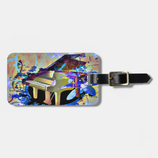 Funky Digitally Colored Piano Luggage Tag