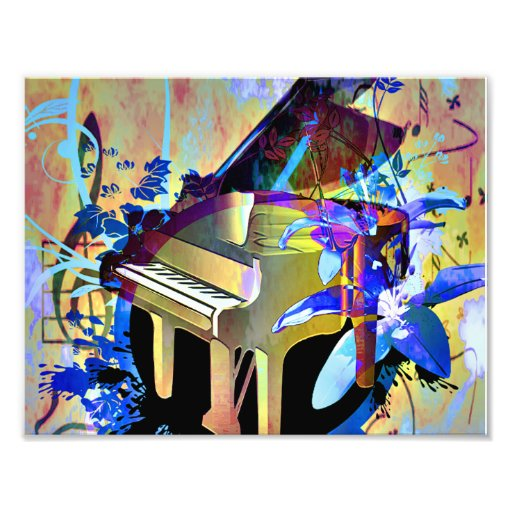 Funky Digitally Colored Piano Photographic Print
