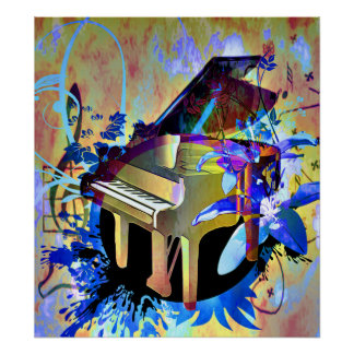 Funky Digitally Colored Piano Print