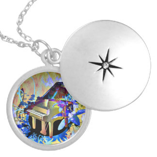 Funky Digitally Colored Piano Round Locket Necklace