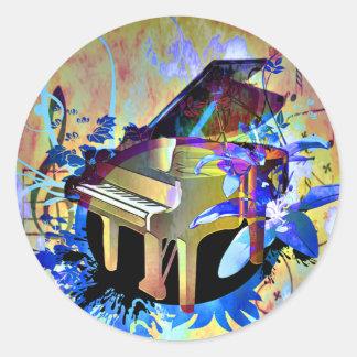 Funky Digitally Colored Piano Round Sticker