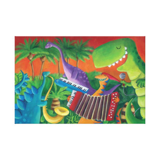 Funky Dinosaur Band Canvas Print