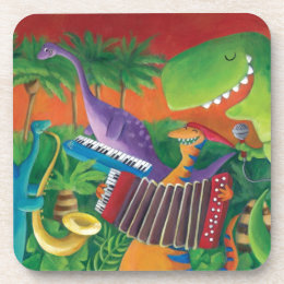 Funky Dinosaur Band Drink Coaster